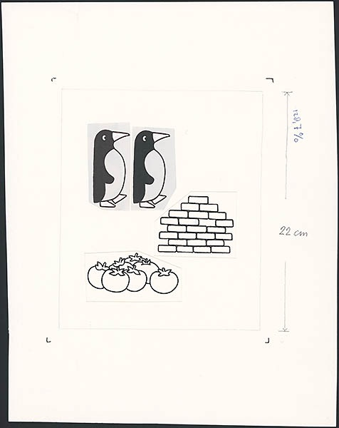 twee pinguins, gestapelde stenen tot een muurtje, zes tomaten [niet nader geïdentificeerd]