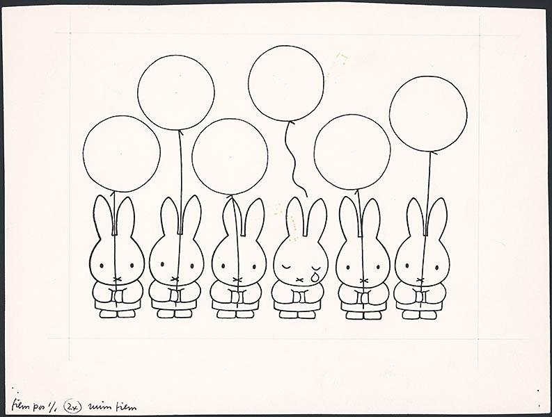 zes nijntjes op een rij met ieder een ballon, een nijntje met een traan en een losgelaten ballon [niet nader geïdentificeerd]