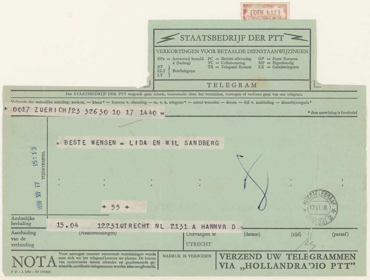 telegram van W.& L. Sandberg aan G. Rietveld