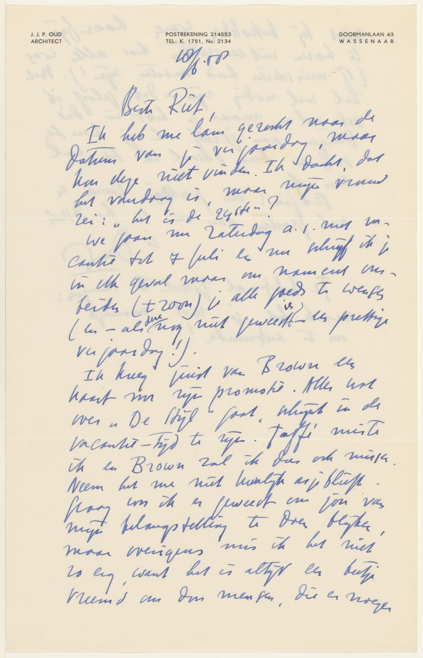 Brief van J.J.P. Oud aan G. Rietveld