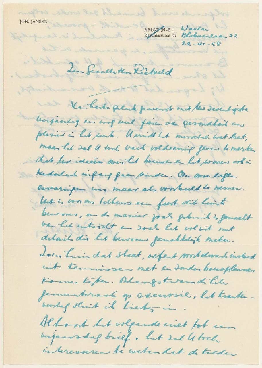Brief van Joh. Jansen aan G. Rietveld