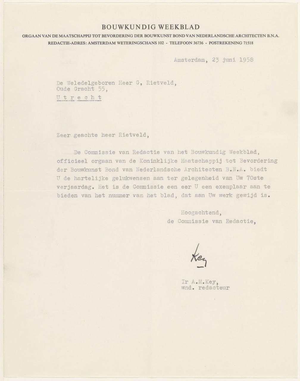 Brief van Bouwkundig weekblad aan G. Rietveld