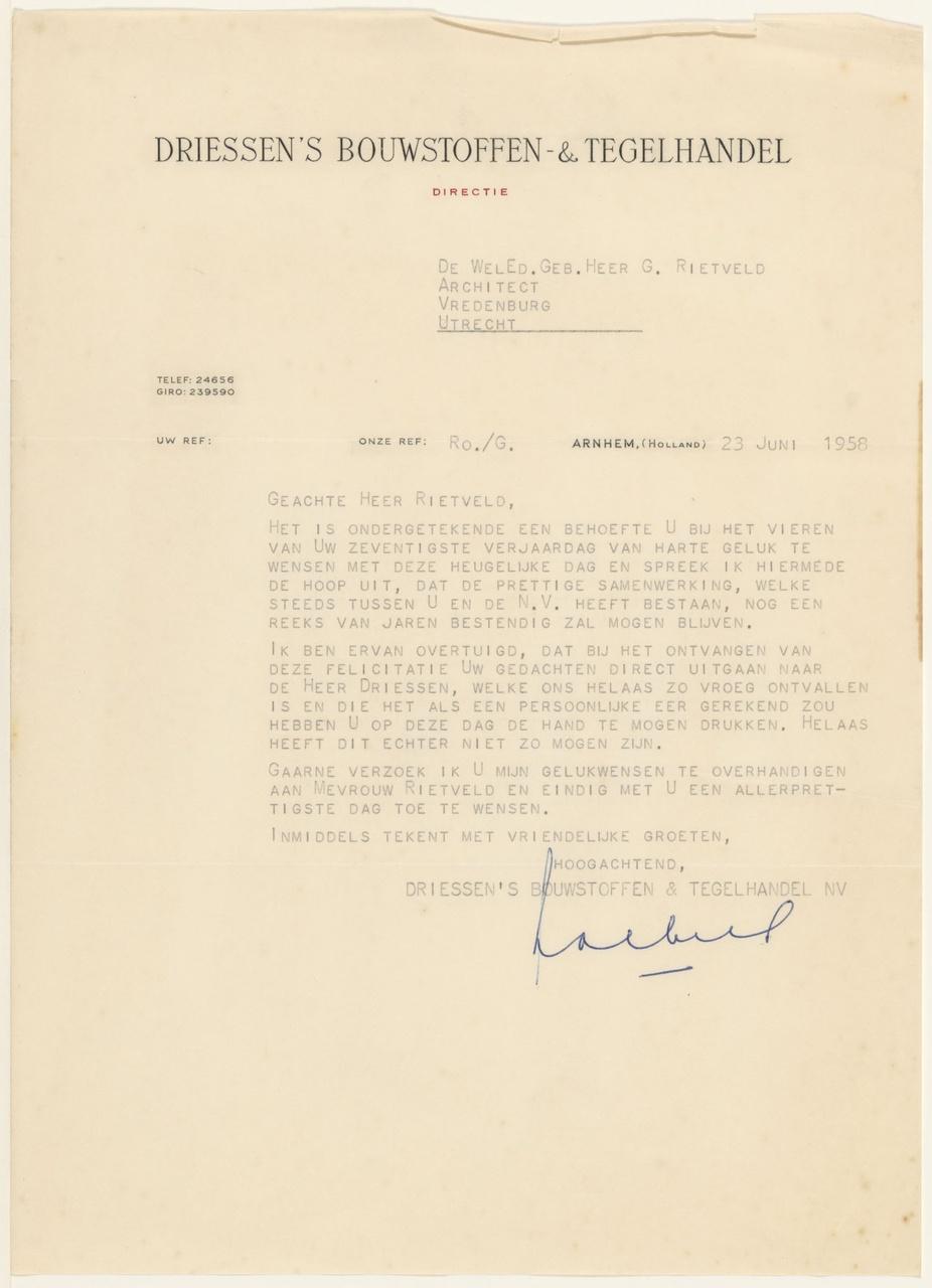 Brief van Driessen's Bouwst. aan G. Rietveld