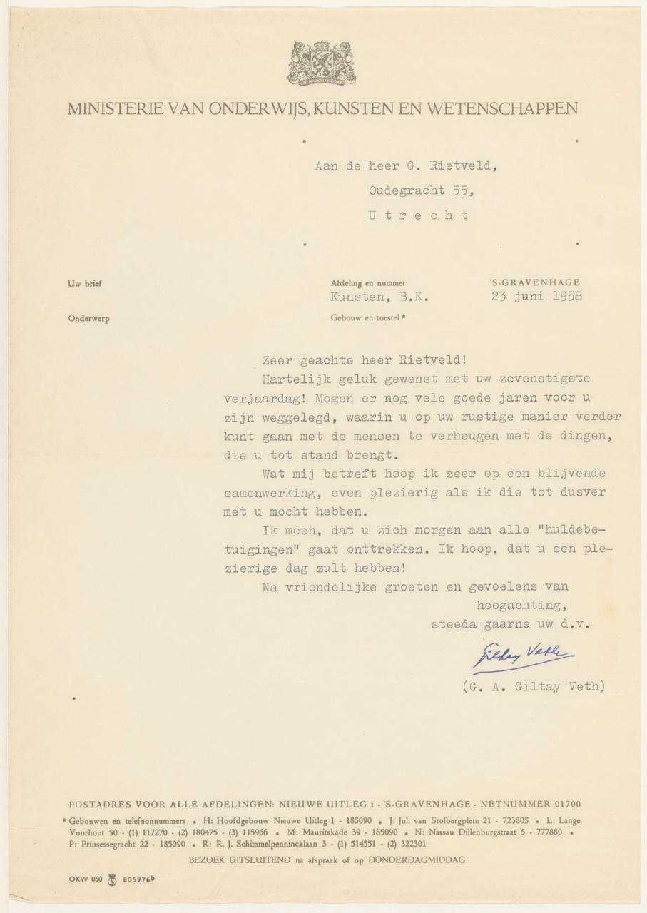 Brief van G.A. Giltay Veth / Ministerie OKW aan G. Rietveld