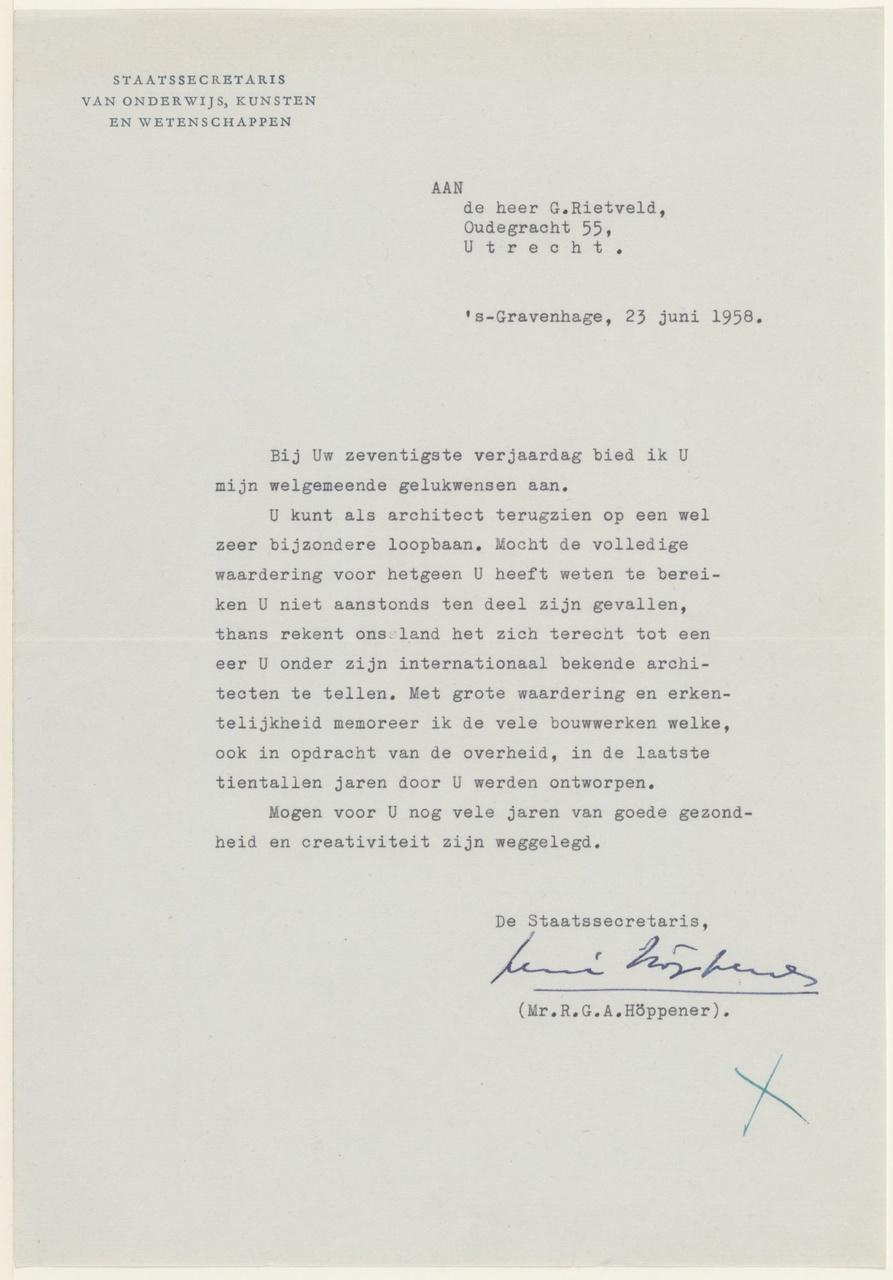 Brief van R.G.A. Höppener / Ministerie OKW aan G. Rietveld