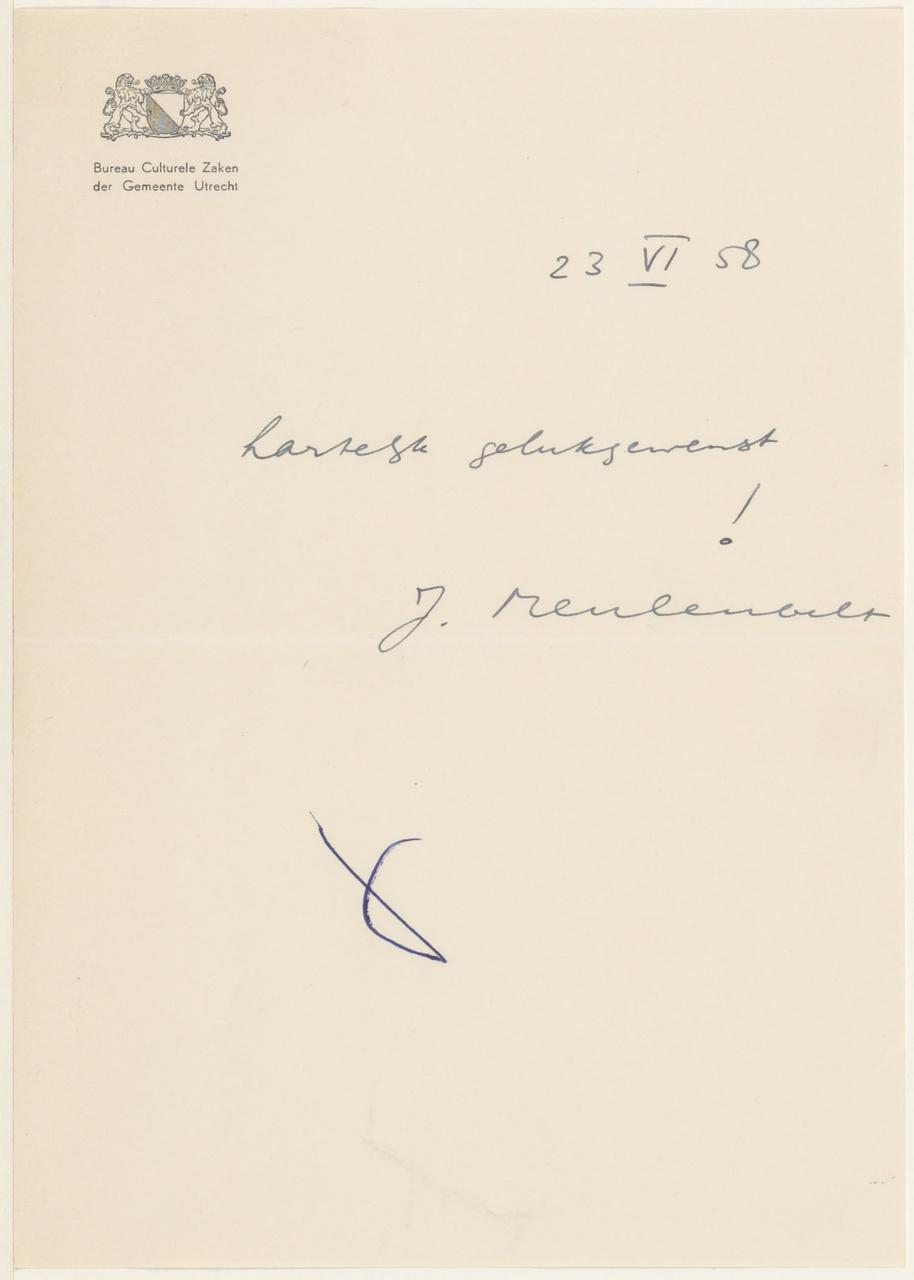 Brief van J. Meulenbelt aan G. Rietveld