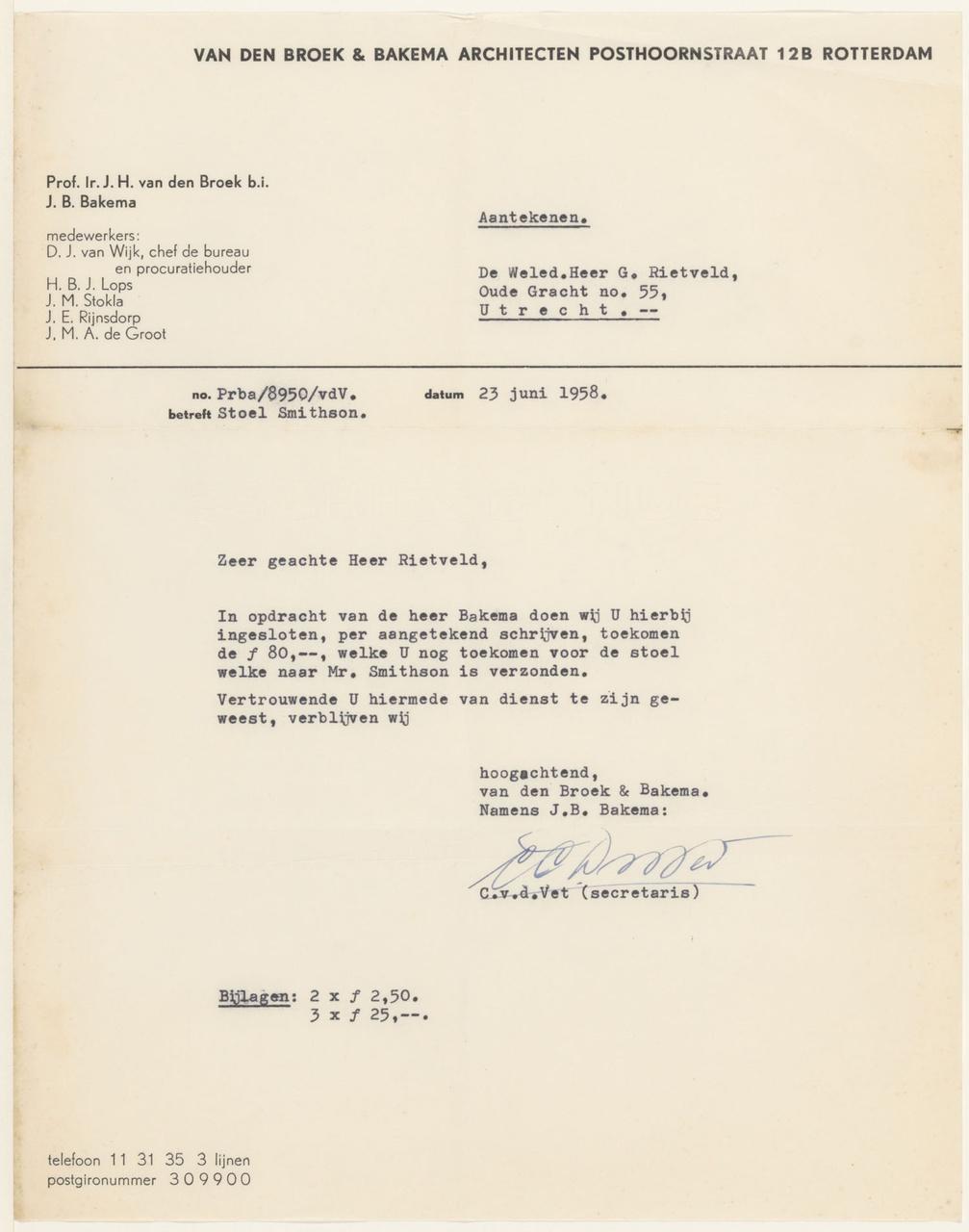 Brief van C. van de Vet aan G. Rietveld