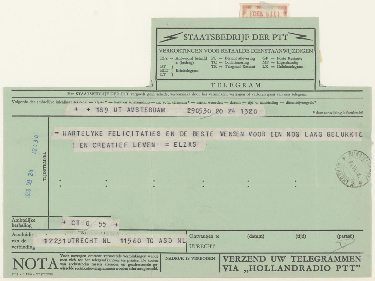 telegram van A. Elzas aan G. Rietveld