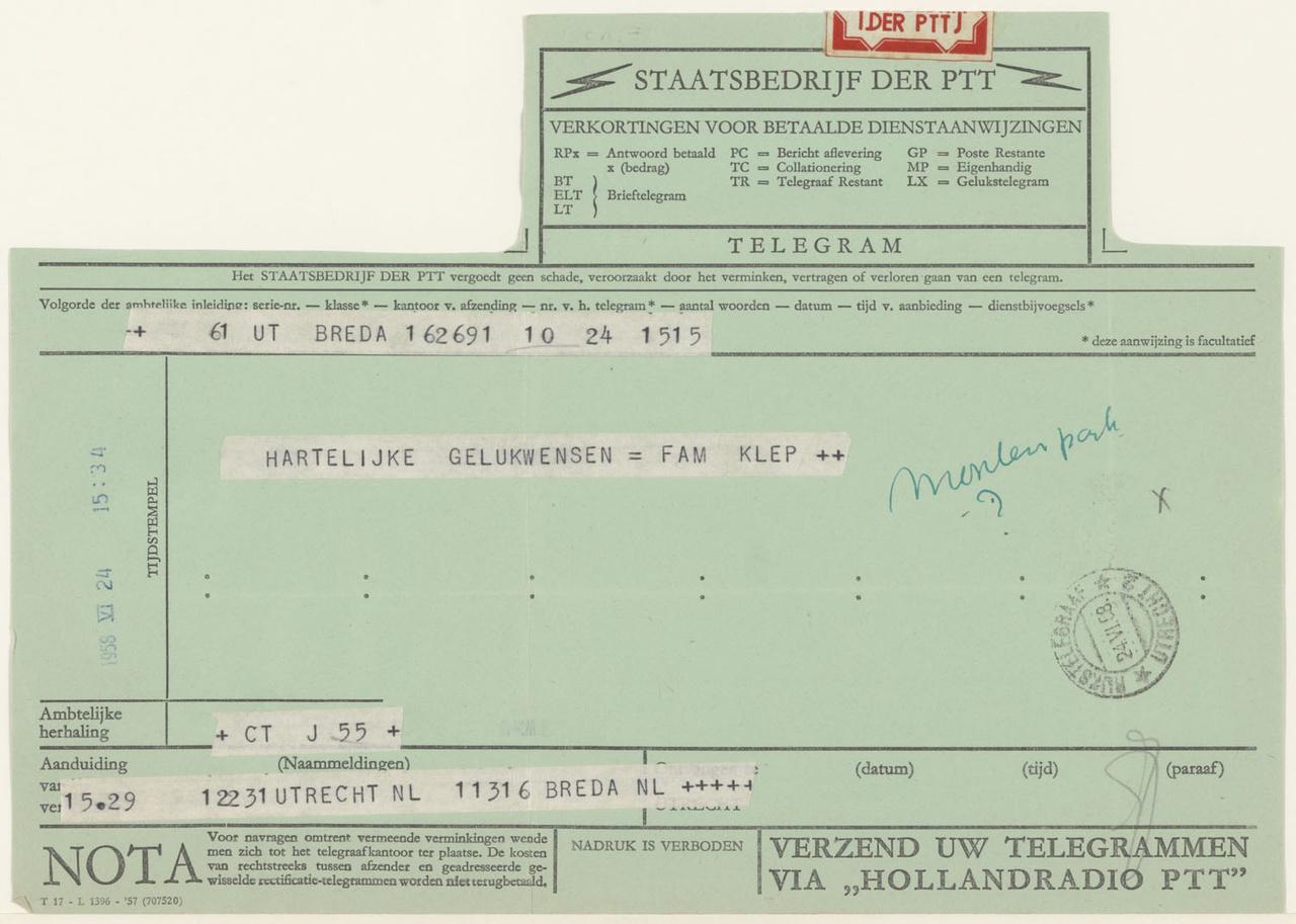 telegram van Klep aan G. Rietveld