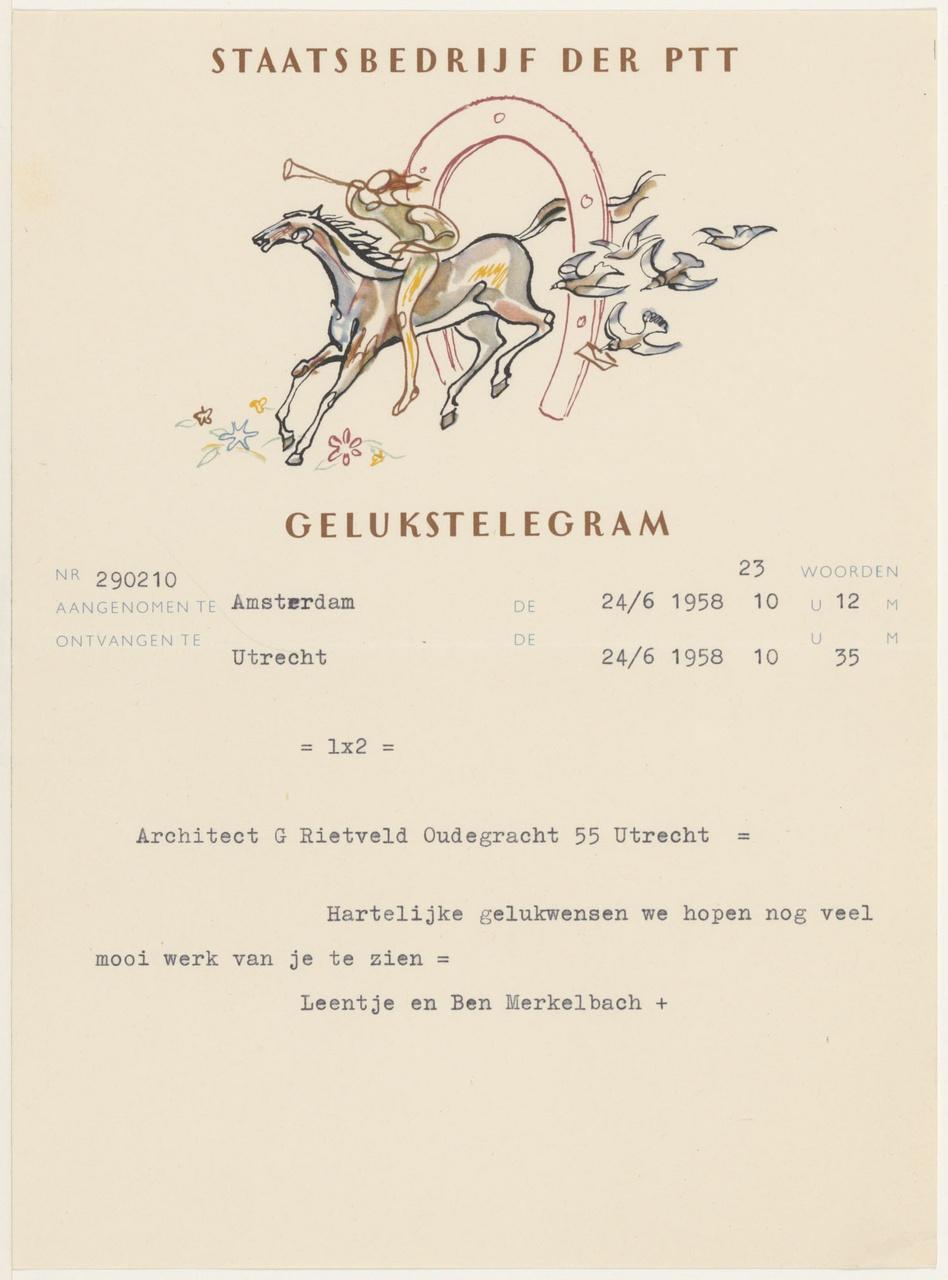 telegram van B. & L. Merkelbach aan G. Rietveld