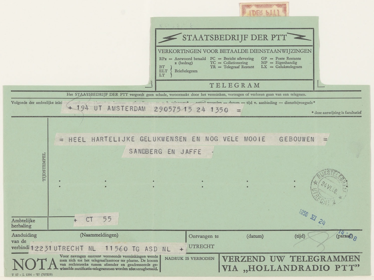 telegram van W. Sandberg / H.L.C. Jaffé aan G. Rietveld
