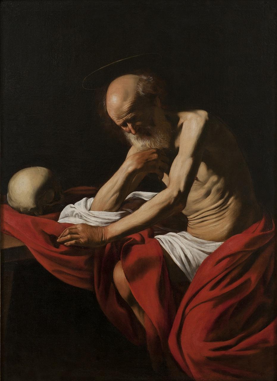 5/9 - Caravaggio, De mediterende Hieronymus, 1605-06, Monasterio de la Virgen de Montserrat, Museu de Montserrat