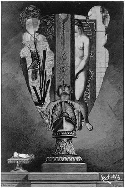 Naakte vrouw en een afgesneden hand