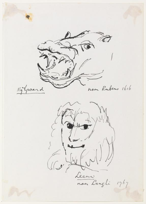 Nijlpaard naar Rubens 1616; Leeuw naar Longhi 1767