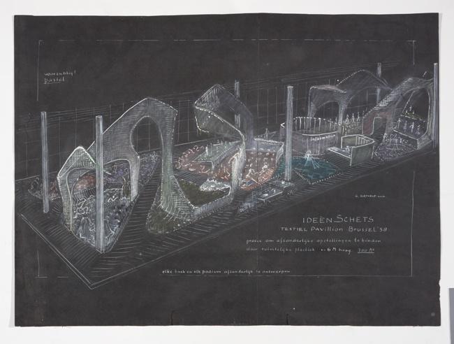 Ideeën schets Textielpaviljoen Brussel 1958