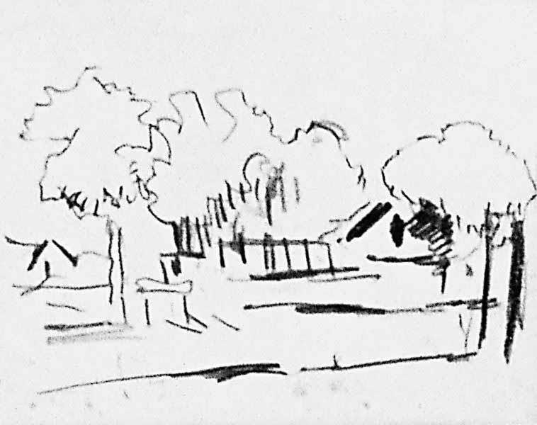 Landschap met huis en bomen