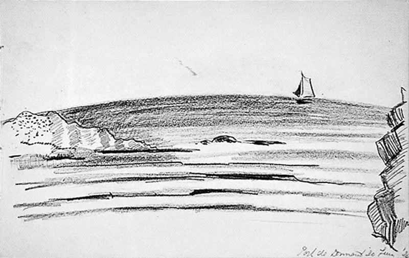 Zee met boot aan de horizon