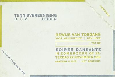 Toegangsbewijs soiree dansante van Tennisvereeniging D.T.V. Leiden