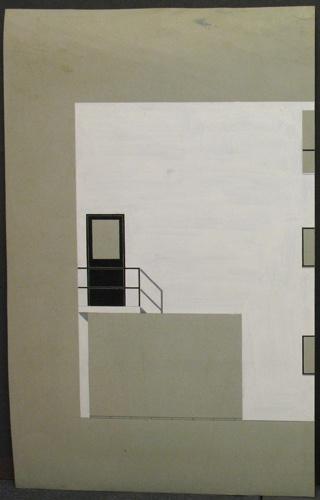 Zijgevel van het huis te Meudon (atelierwoning) in zwart-wit en grijzen