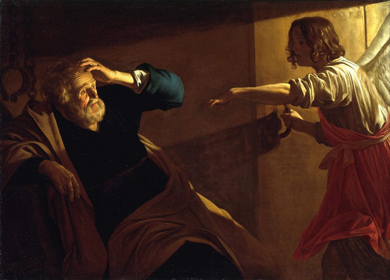 Gerard van Honthorst, De Bevrijding van Petrus, ca. 1616-18, Staatliche Museen zu Berlin, Gemäldegalerie Jörg P. Ander.jpg