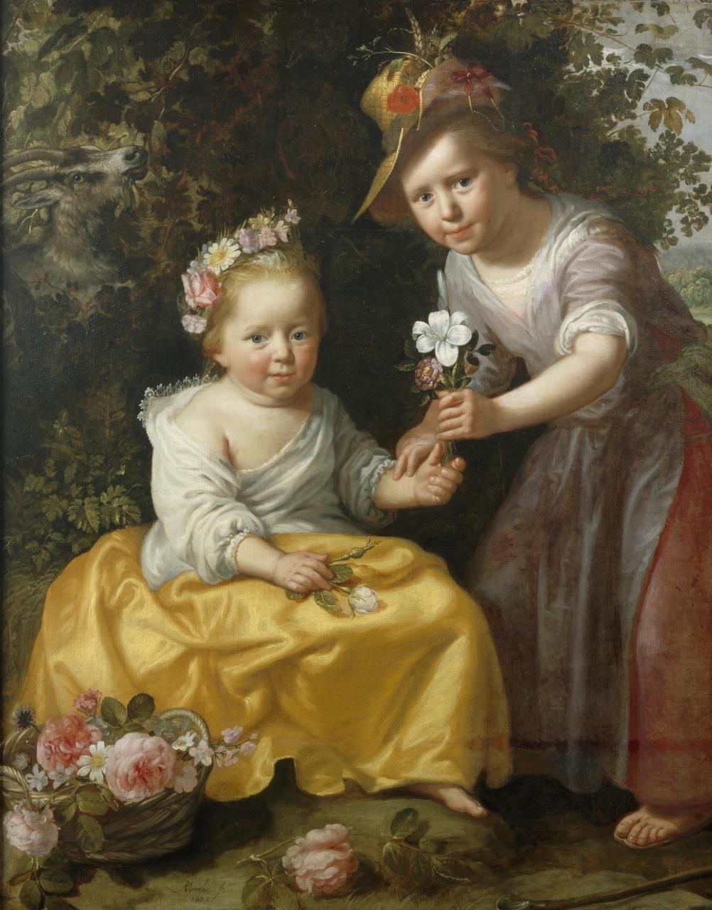 Pastoraal portret van twee meisjes