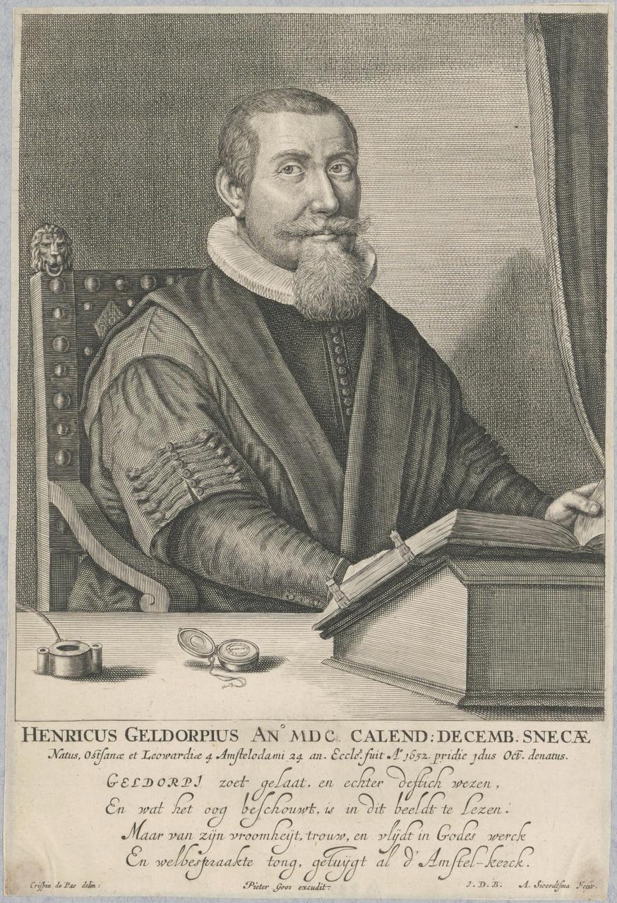 Portret van Henricus Geldrop (1600-1652), predikant te Amsterdam