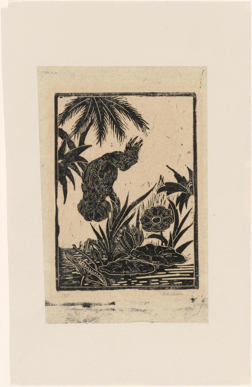 Compositie met papegaai, waterlelies en palmbladeren tegen witte achtergrond