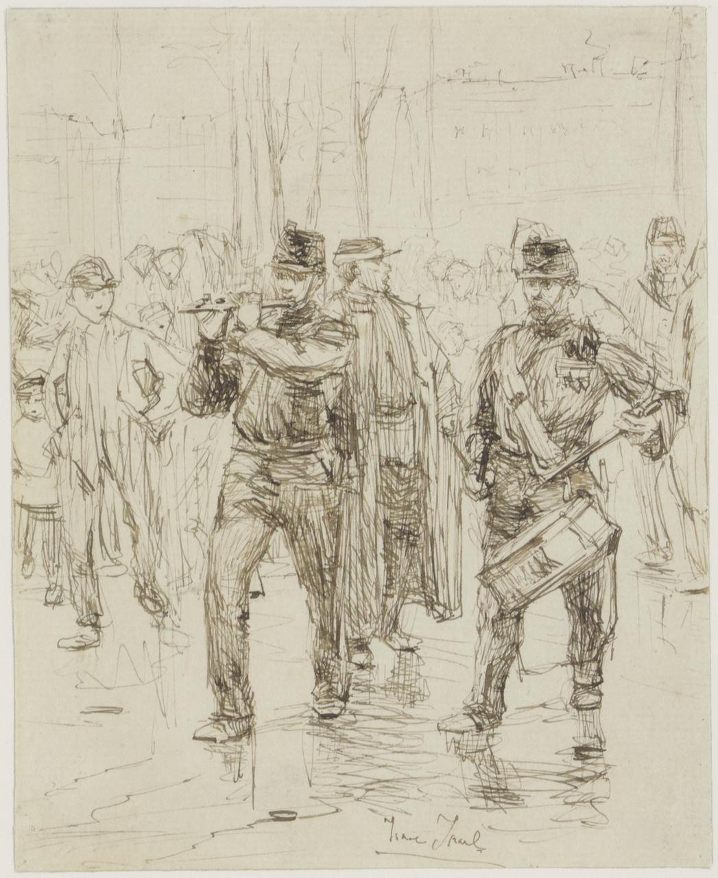 Afscheid der kolonialen te Rotterdam (voorstudie voor het schilderij)