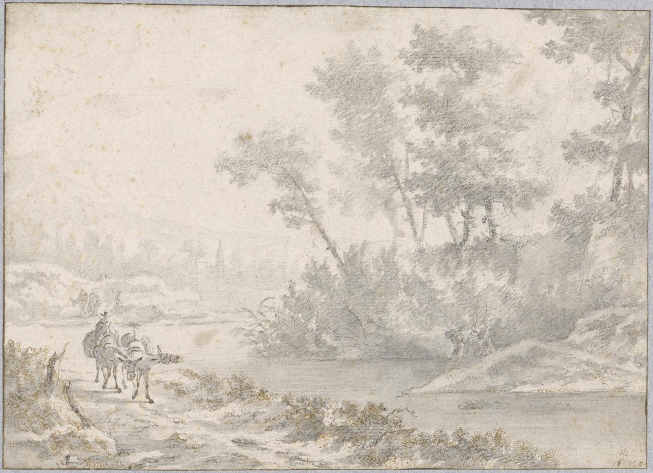 Italiaans riviergezicht met muilezeldrijver