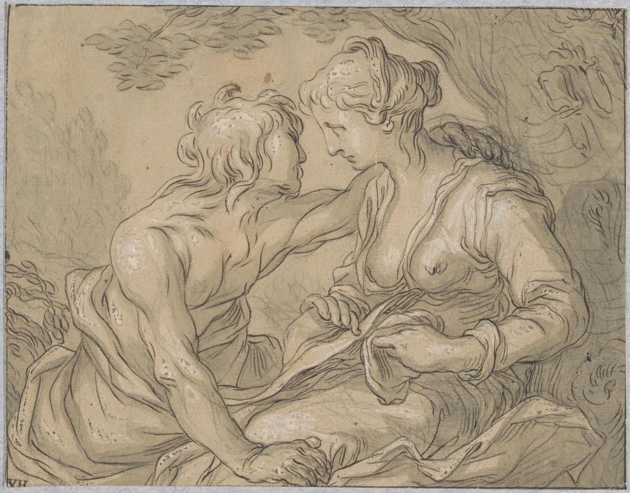 Amoureus paar (Vertumnus en Pomona?)