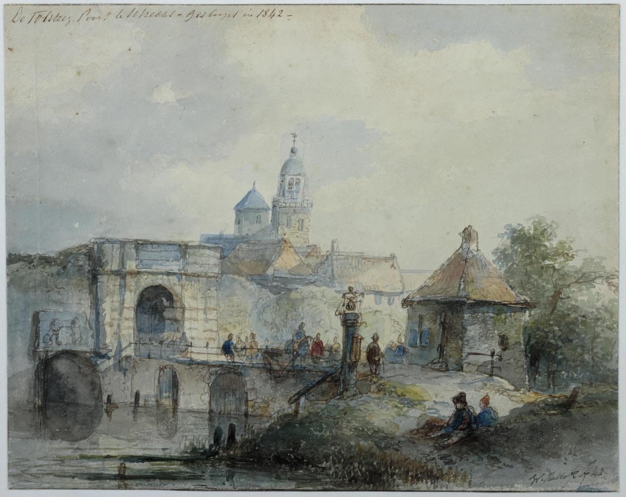 Gezicht op de Tolsteegpoort te Utrecht, verso: Twee landschapstudies