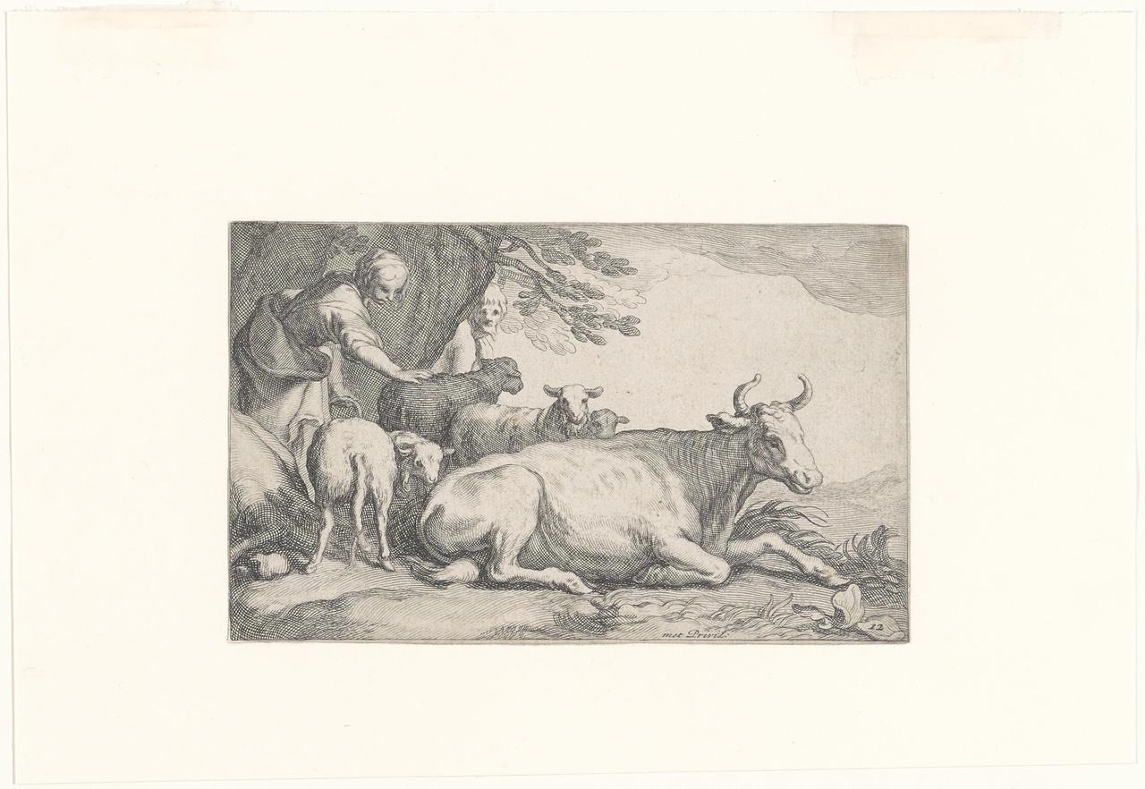 Liggende koe; Verscheyde Beesten en Vogelen