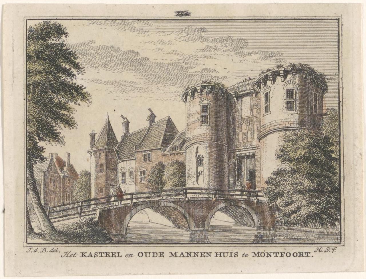 Gezicht op de voorpoort van kasteel Montfoort en het Oudemannenhuis