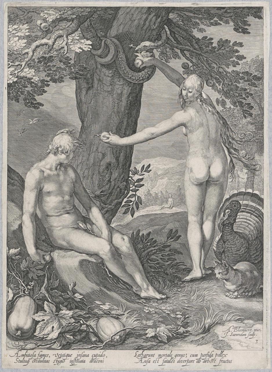Eva rijkt Adam de appel (de geschiedenis van de eerste ouders van de mens)