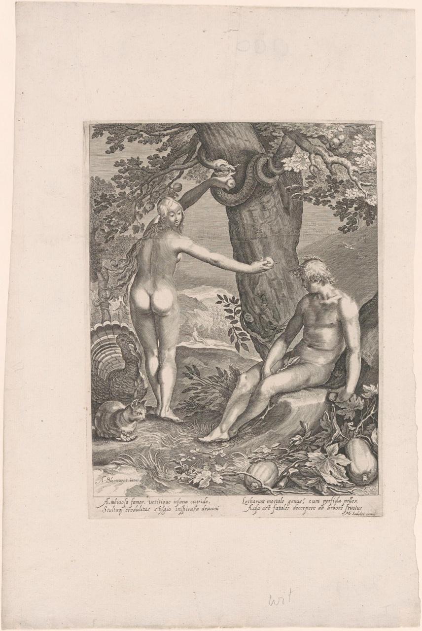 Eva wordt door de slang overtuigd (de geschiedenis van de eerste ouders van de mens)