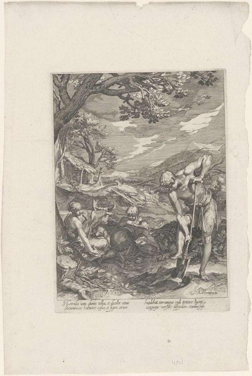 Adam spittend en Eva spinnend (de geschiedenis van de eerste ouders van de mens)