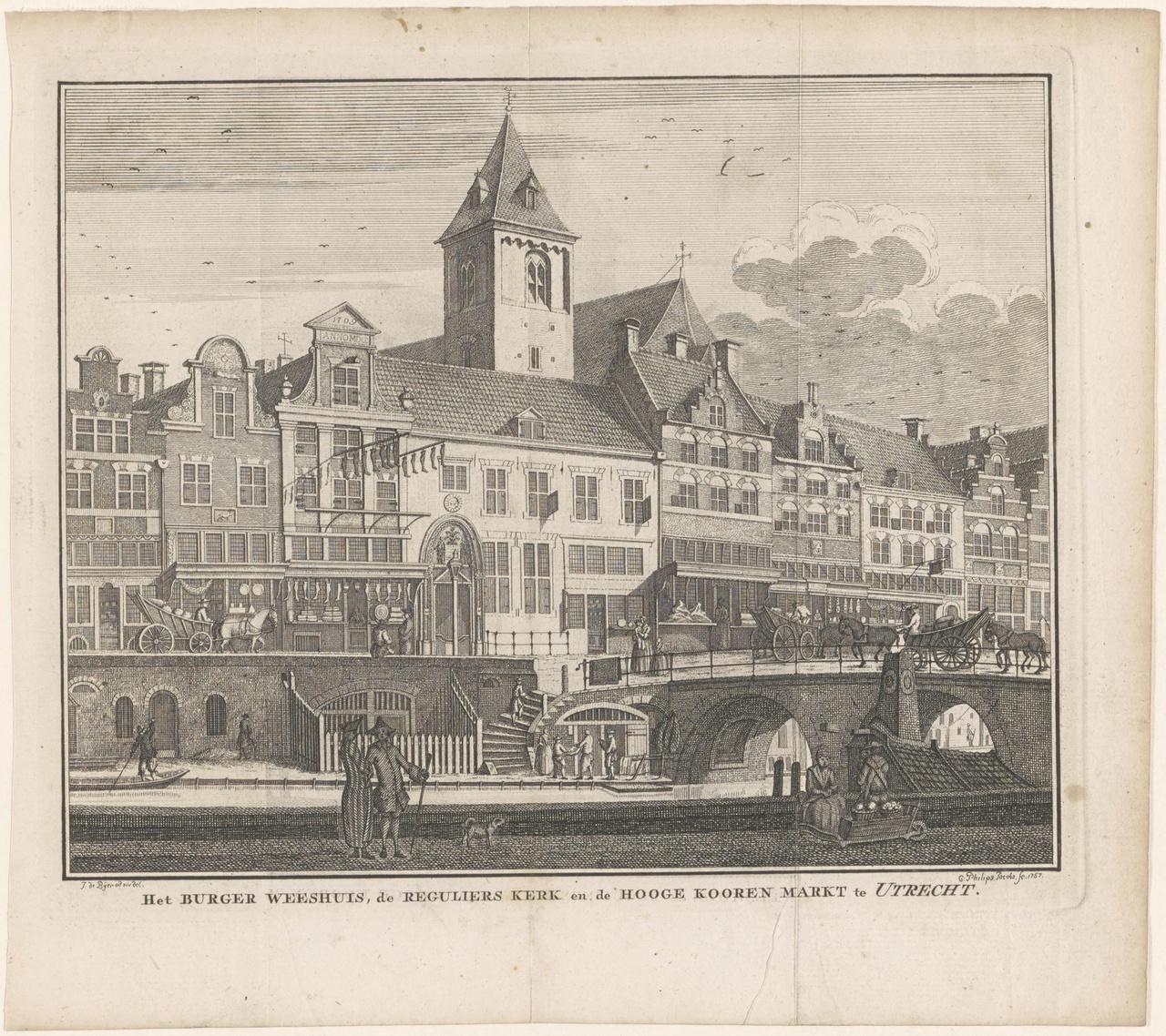 Het Burgerweeshuis, de Regulierskerk en de Hooge Korenmarkt te Utrecht