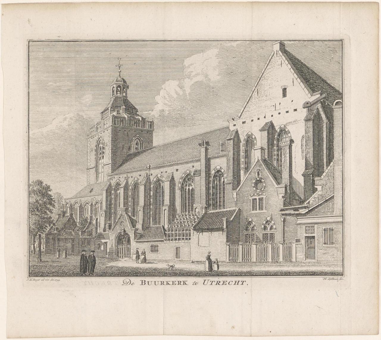 Gezicht op de Buurkerk te Utrecht