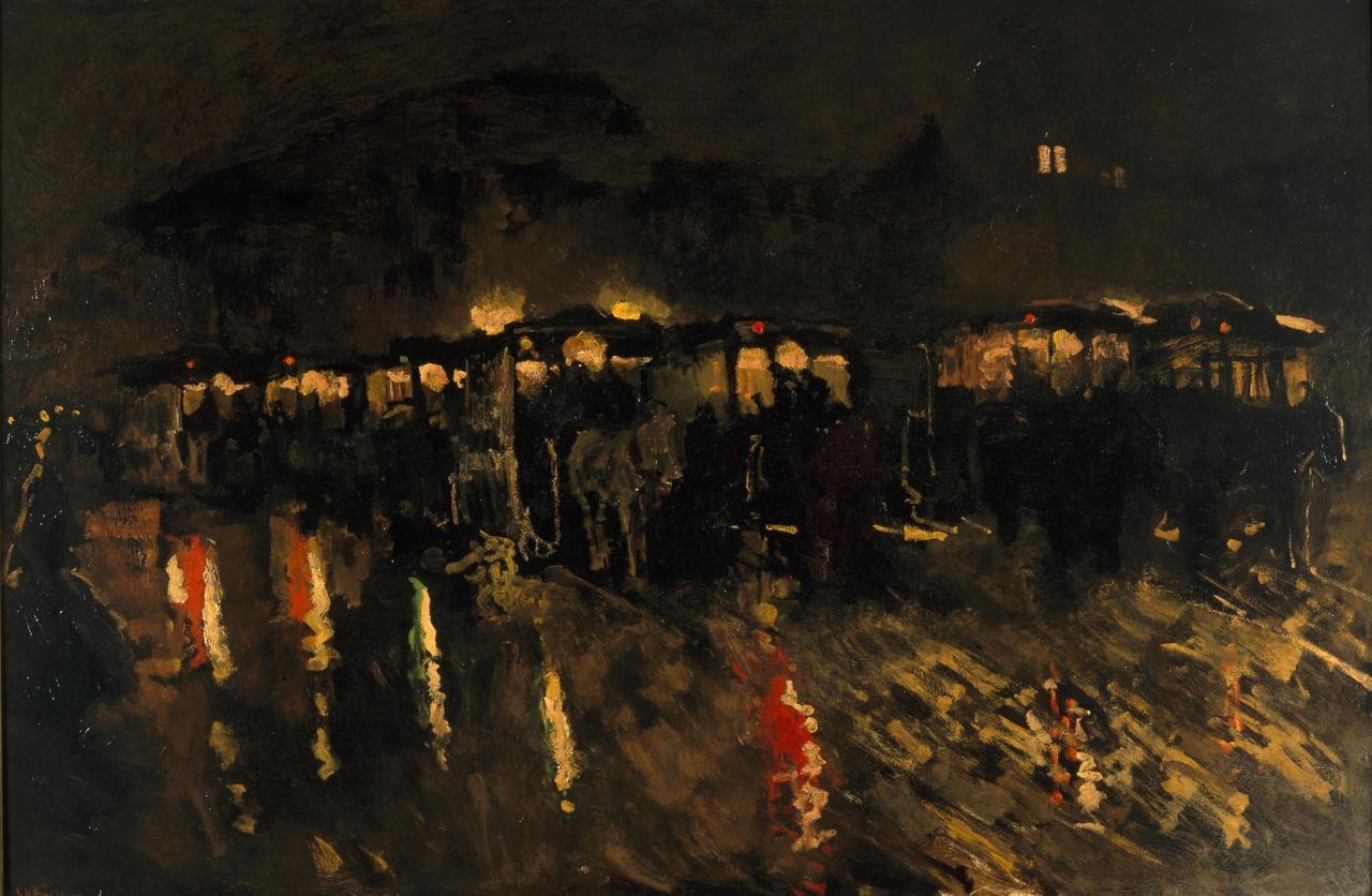 Paardentrams op de Dam te Amsterdam bij avond