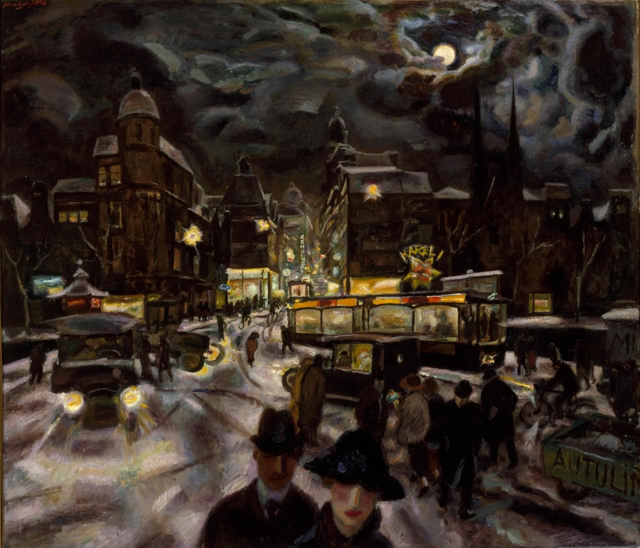 Het Koningsplein te Amsterdam bij avond