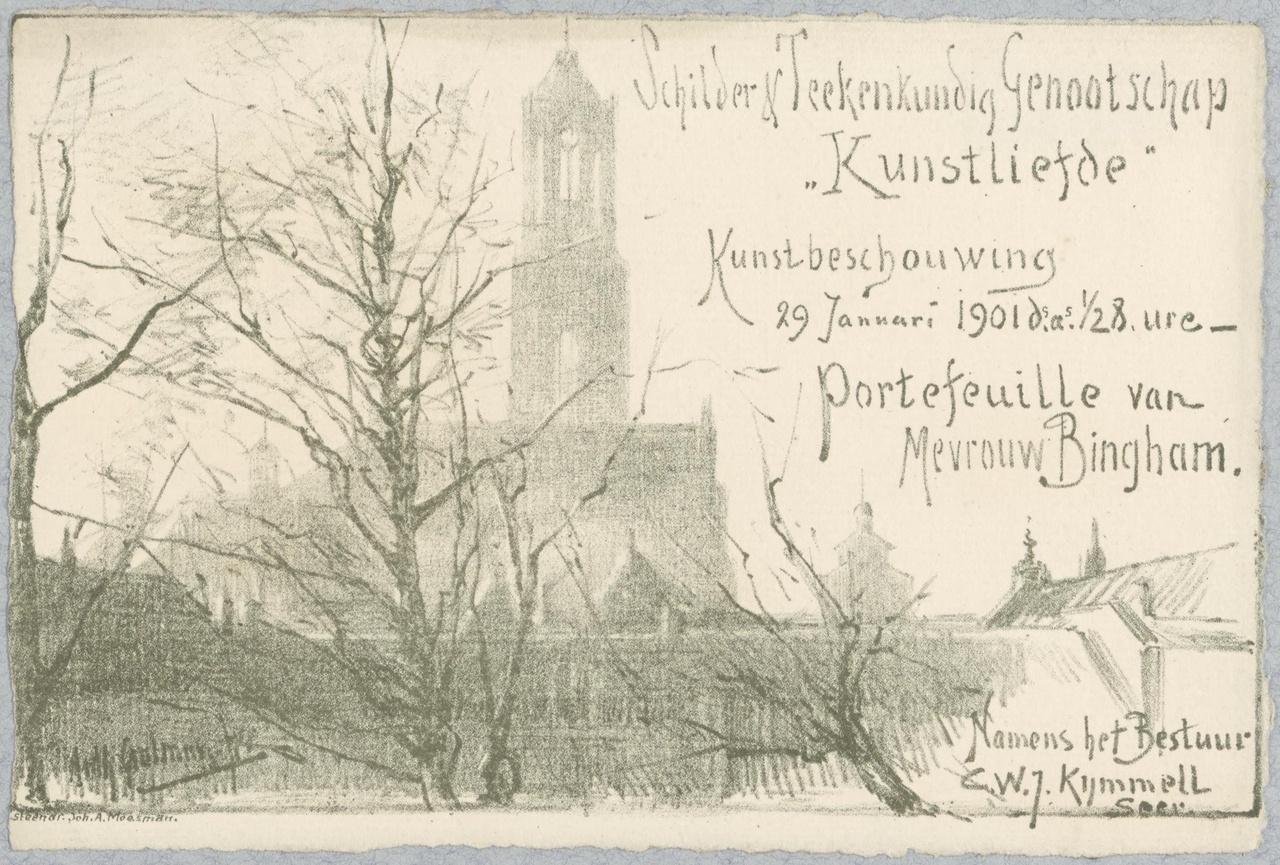 Convocatie van het Genootschap Kunstliefde voor een kunstbeschouwing op 29 januari 1901