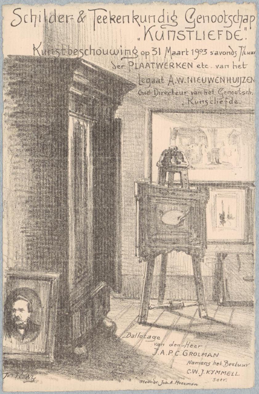 Uitnodiging van Genootschap Kunstliefde voor een kunstbeschouwing op 31 maart 1903