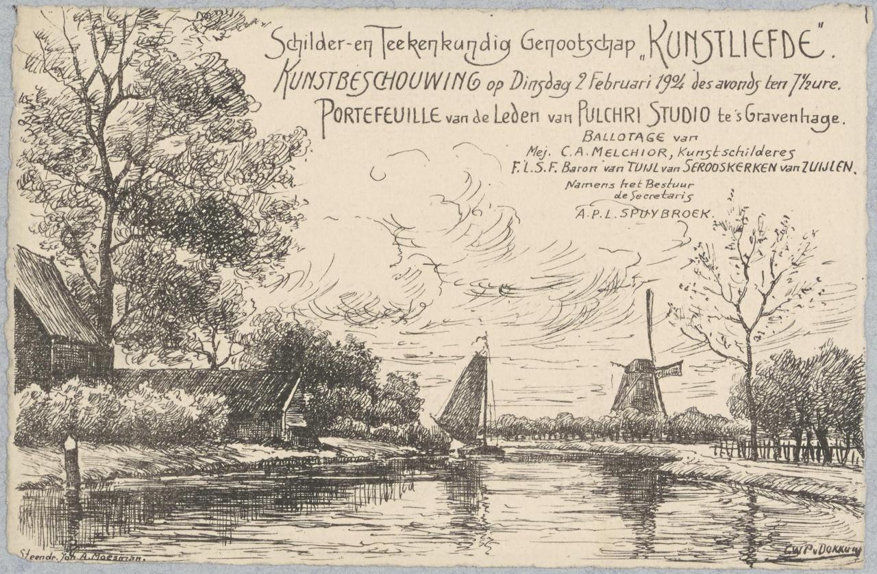 Uitnodiging voor Kunstliefde tentoonstelling op dinsdag 2 februari 1904
