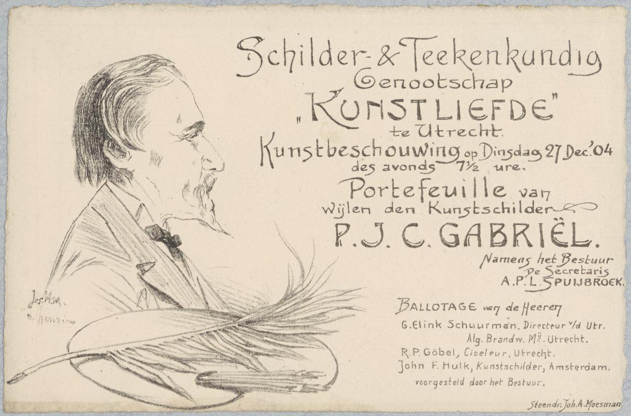 Uitnodiging van Genootschap Kunstliefde voor een kunstbeschouwing op 27 december 1904
