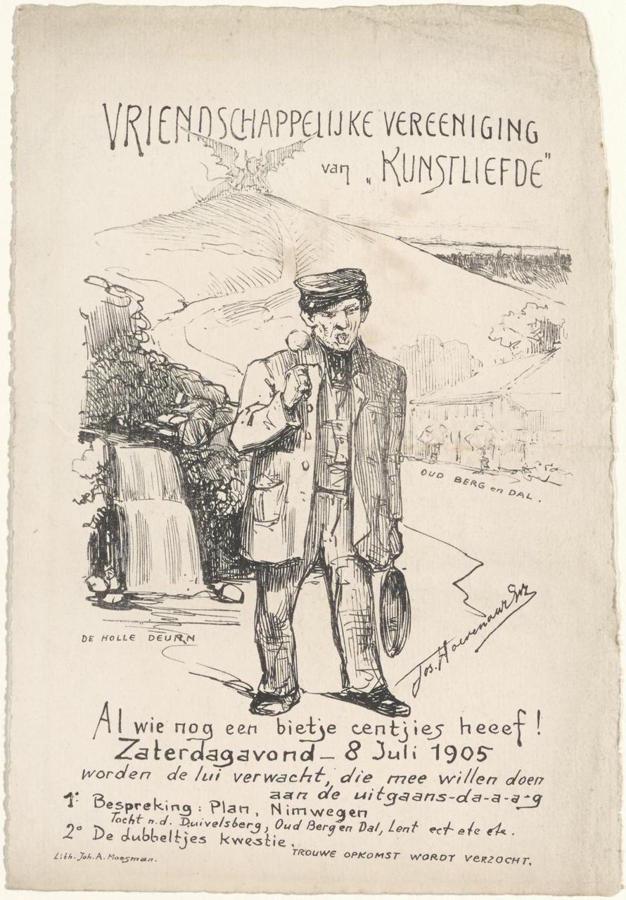 Uitnodiging van Genootschap Kunstliefde voor een vergadering op 8 juli 1905