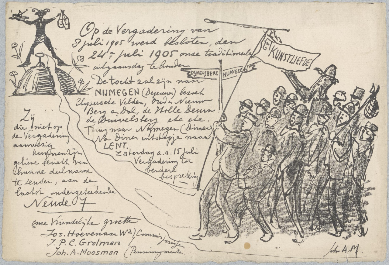 Uitnodiging tot deelneming aan uitstapje naar Nijmegen op 24 juli 1905