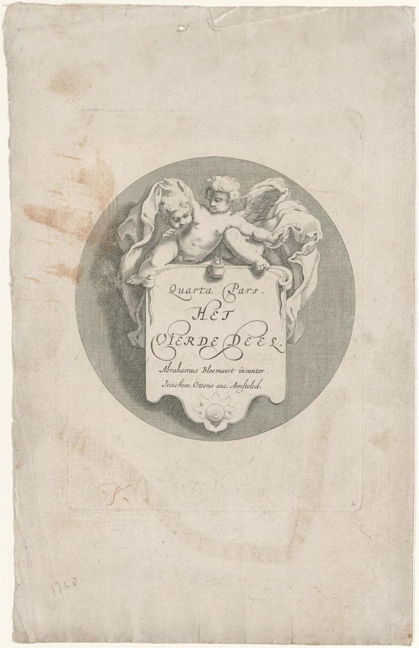 Titelblad van het vierde deel van het tekeningenboek van Abraham Bloemaert