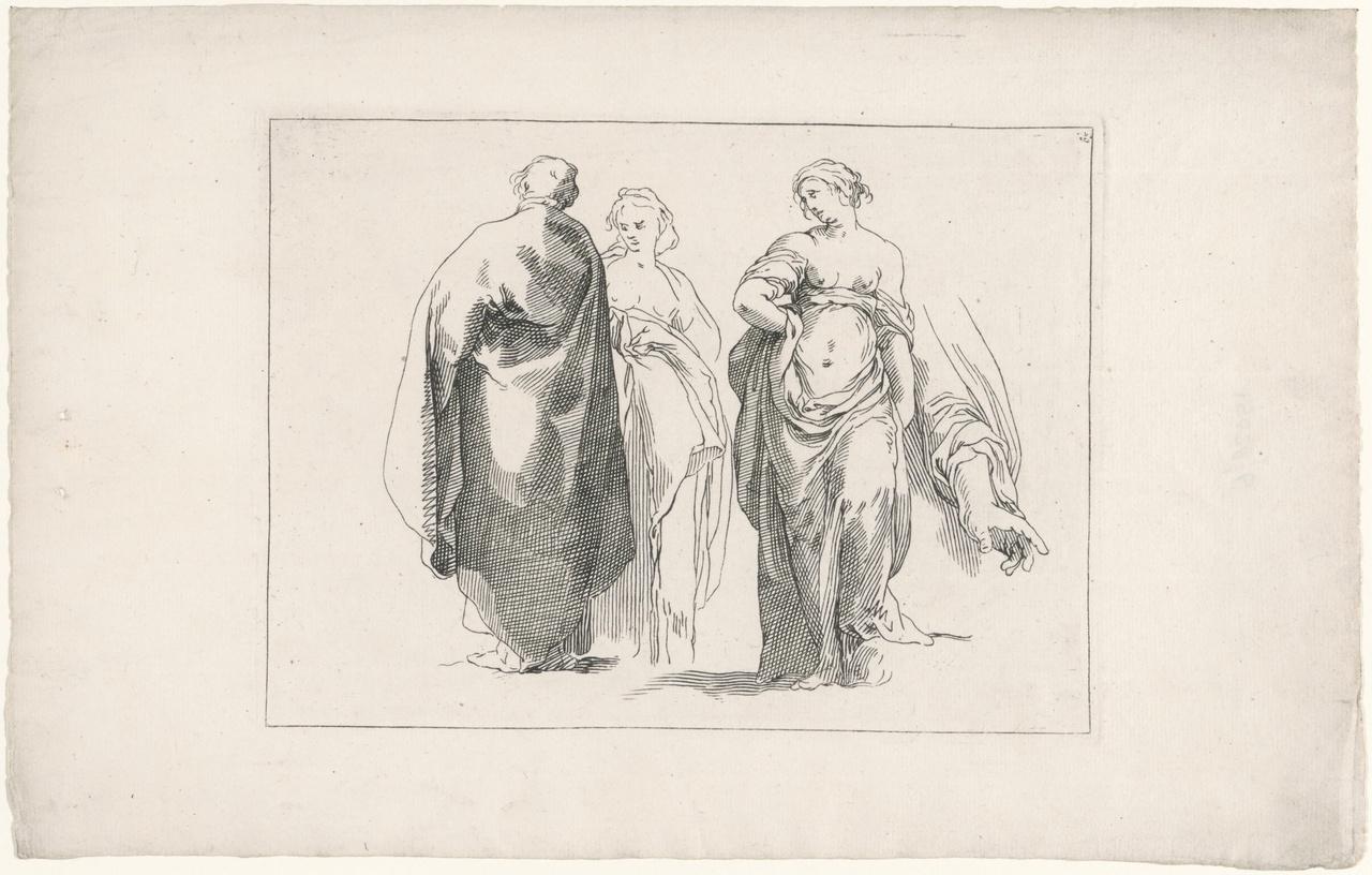 Drie figuren en een hand