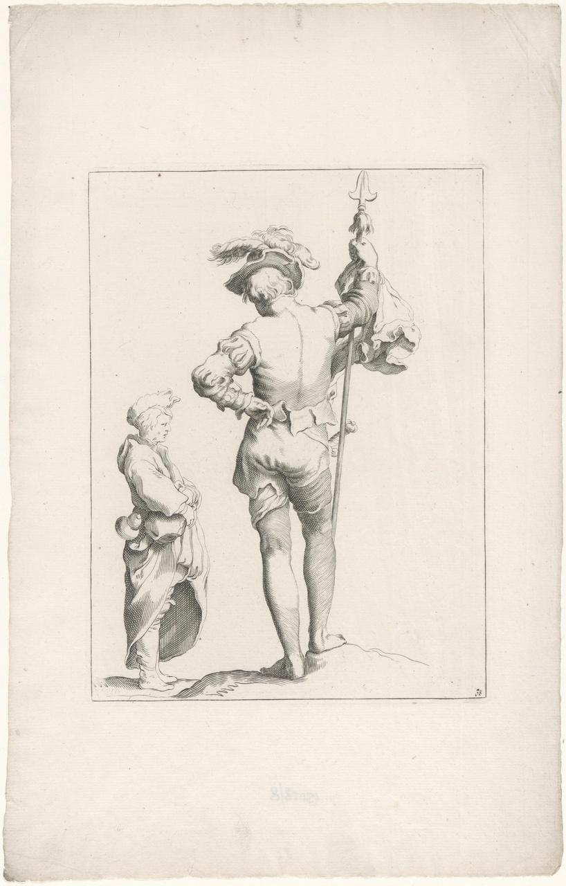 Hellebaardier en man met veldfles en profil
