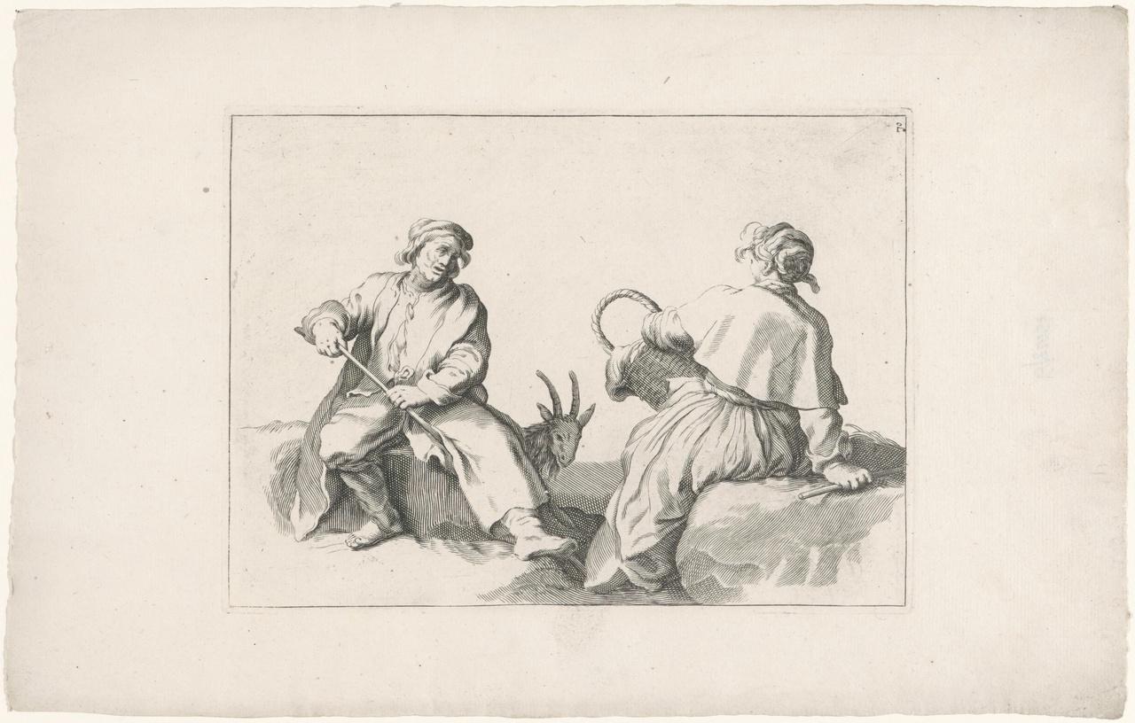 Zittende man met geit en zittende vrouw met korf